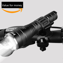 WUBEN Zoomable LED Flashlight 1200 LM Real Test Super Bright USB Rechargeable Waterproof IPX8 Torch + Bicycle Mount + Battery