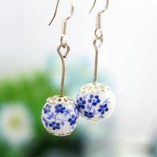 hot selling vintage elegant flower beads drop earrings for women fashion female accessory classic long earring free shipping