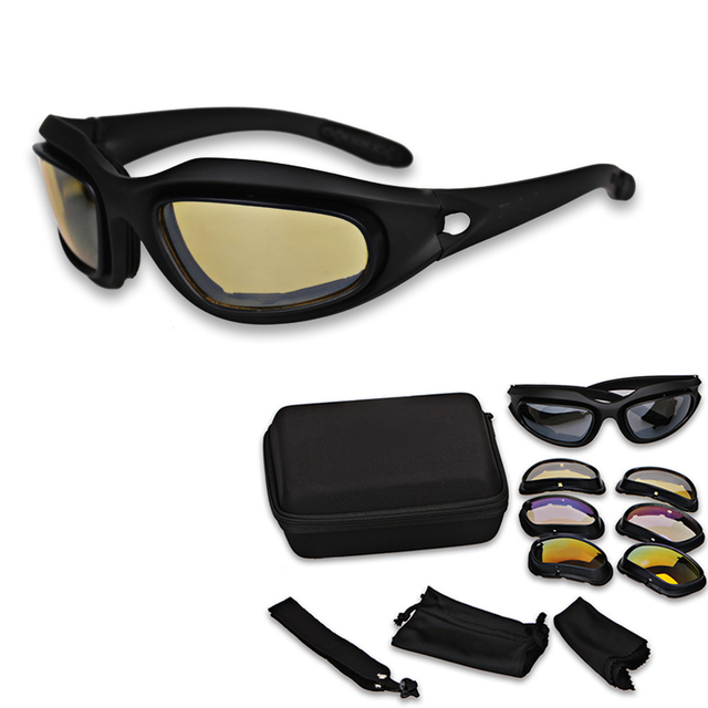 342ec21f92e Moto Motorcycle Desert Airsoft Goggles Military Sunglasses Polarized  Hunting Shooting Goggles UV Army 4 Lens Glasses