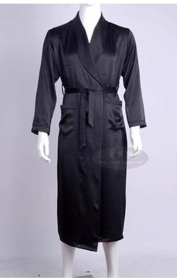Men Love Silk Heavy Silk Pajamas Long Sleeved Robe Long Silk Bathrobe Silk Clothing (Home Furnishing Large Code 3