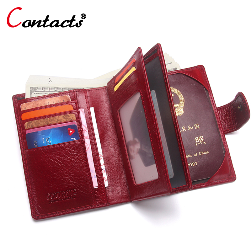 CONTACT'S Passport Cover women Wallet credit card holder Coin Purse Passport Cover Genuine Leather Men Wallet travel Organizer купить
