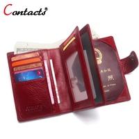 CONTACT S Genuine Leather Men Wallet Passport Cover Business Card Holder Organizer Mens Passport Holder Wallets