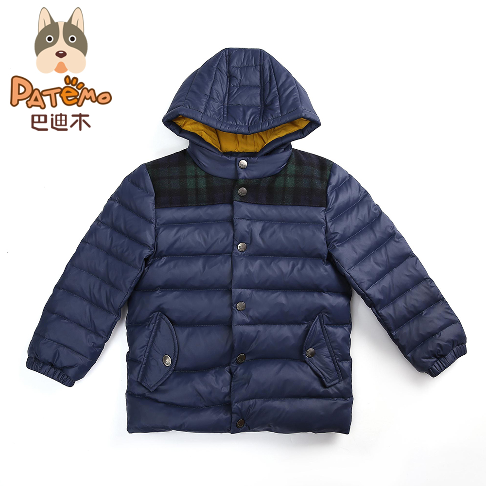PATEMO Boys Winter Jackets Kids Outerwear Hooded Warm Winter Children Clothes Navy Blue Parkas Cotton Padded Male Child Jacket aimeixiuyi children real raccoon fur cotton padded jacket coat winter kids clothes boys girls warm hooded parkas outerwear