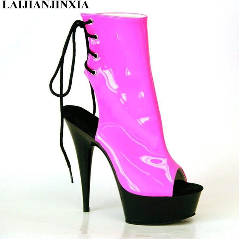 LAIJIANJINXIA Neue sommer frauen offene spitze coole stiefel schuhe 15 cm schuhe mit hohen absätzen mode spitze up damen schuhe stiefeletten-in Knöchel-Boots aus Schuhe bei  Gruppe 1