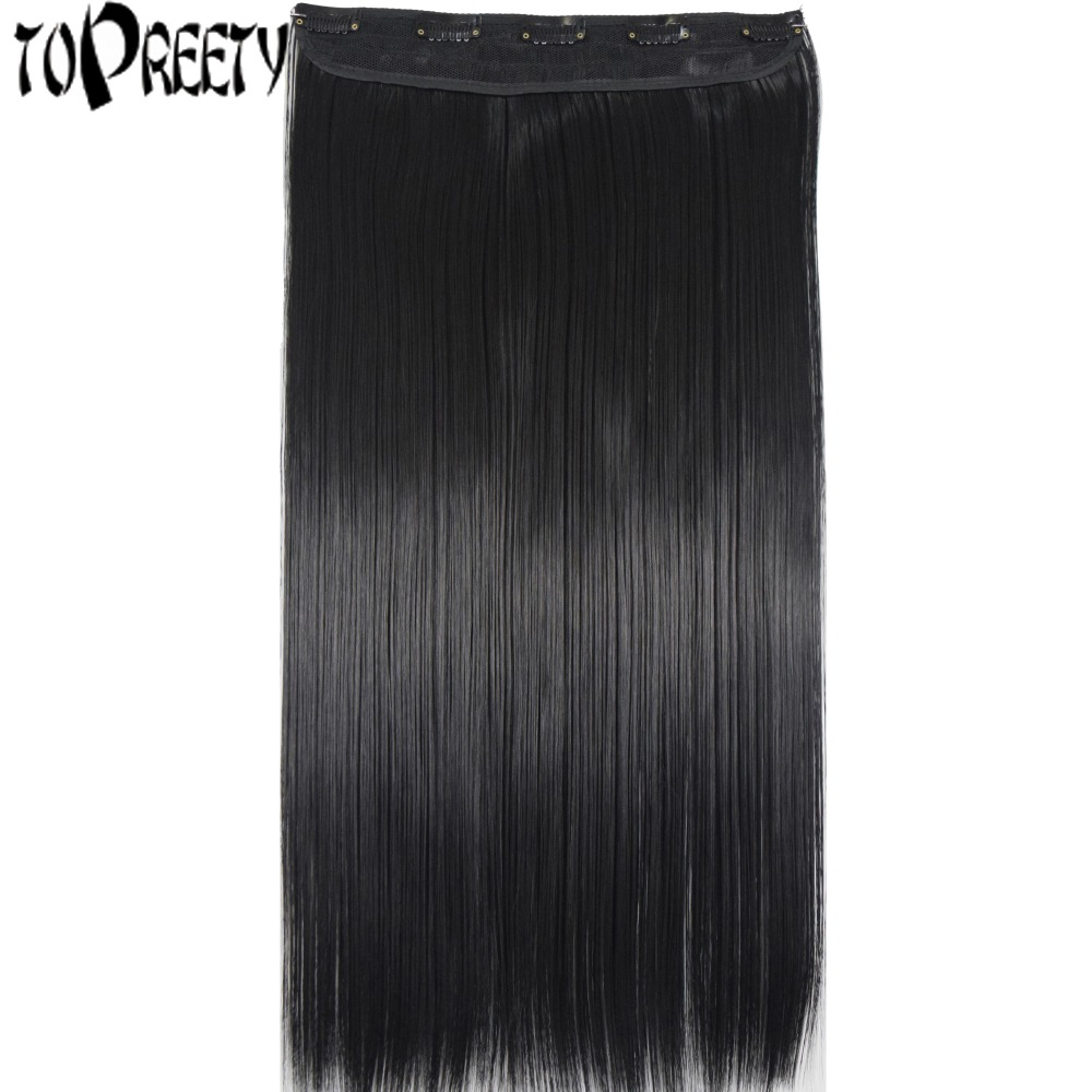 TOPREETY Heat Resistant Synthetic Hair Fiber 100gr Silky Straight 5 clips on clip in Hair Extensions 5106