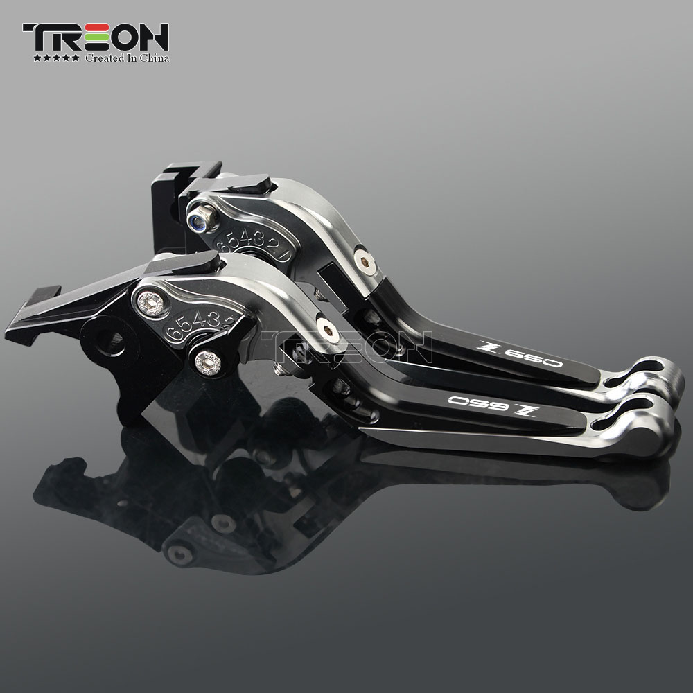 Image 3 - CNC Aluminum Motorcycle Frame Ornamental Extendable Brake Clutch Lever Handle For Kawasaki Z650 Z 650 2017 2018 2019 Accessories-in Covers & Ornamental Mouldings from Automobiles & Motorcycles