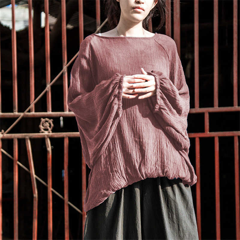 Johnature Women Lantern Sleeve T-Shirts Casual 2019 Summer New Loose Plus Size O-Neck Original Pink Purple Vintage T-Shirts