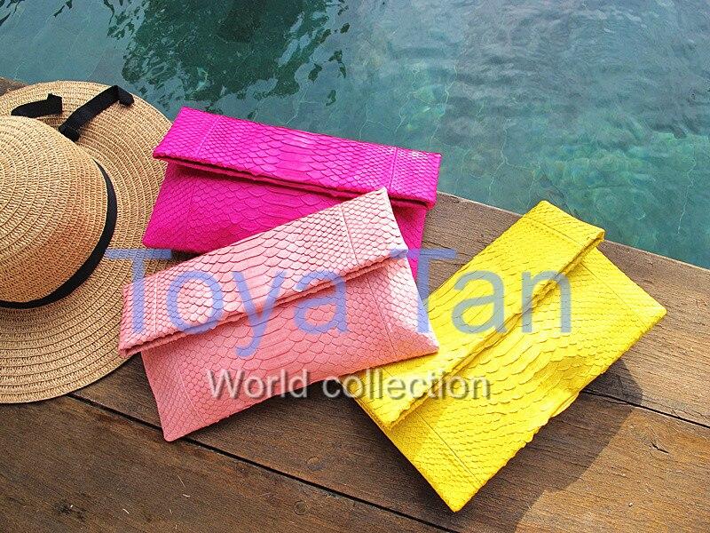 Luxus Damen 100% echte Pythonleder Clutch Abendtasche Handtasche aus Pythonleder