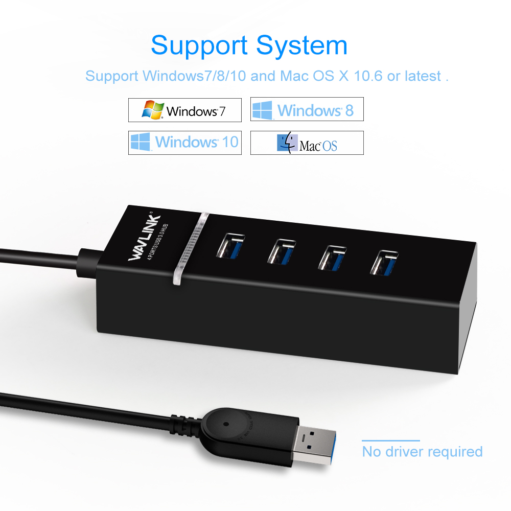 цена Wavlink Portable Mini USB 3.0 Hub 4 Ports 5Gbps High Speed USB HUB LED Indicator for PC Laptop Macbook Computer Tablet Notebook