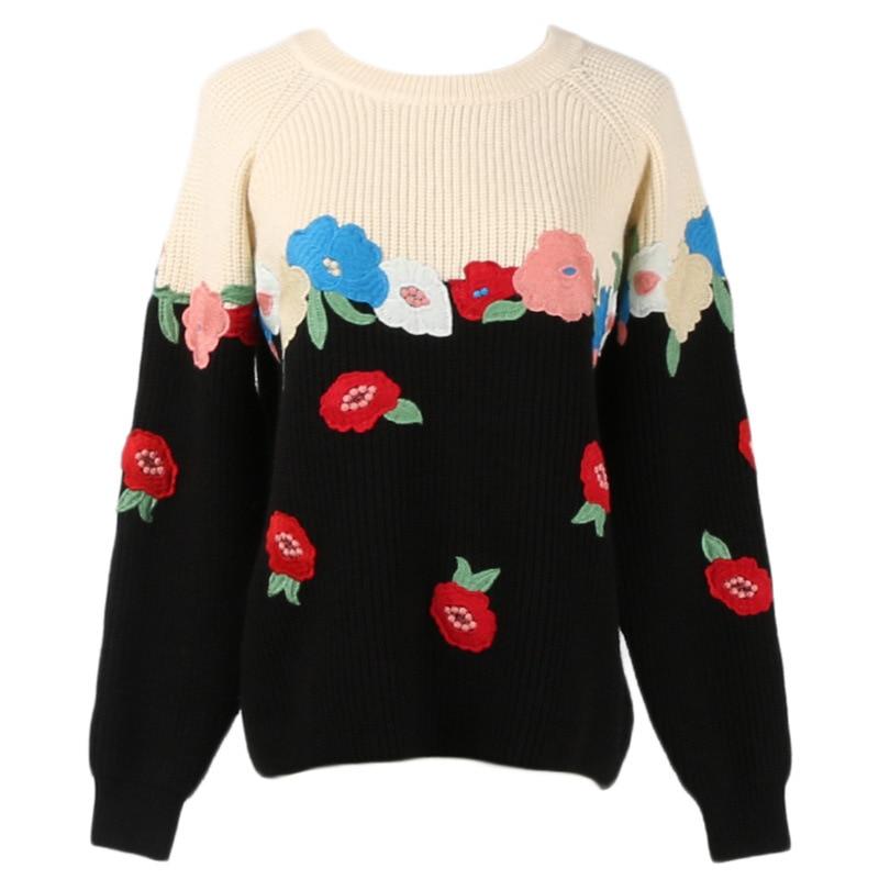 Chandail À Rond Gy2018272 Noir Manches Noël Florale Femmes Broderie Tricoté Pulls Jumper Col De Longues Gruiiceen bleu 2018 YBqwHH