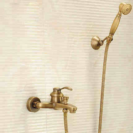 Antique Brushed Brass Bath Faucets Wall Mounted Bathroom Basin Mixer Tap Crane With d Shower Head Bath & Shower Faucet bathtub faucets antique brass bath rain shower faucet head and handheld shower faucet 2 handel bathroom wall mounted tap lj10119