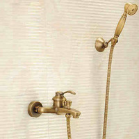 Antique Brushed Brass Bath Faucets Wall Mounted Bathroom Basin Mixer Tap Crane With d Shower Head Bath & Shower Faucet