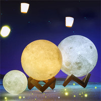 Trecaan 3D Print Magical Moon LED Night Light Moonlight Desk Lamp USB Rechargeable 2 Color Change