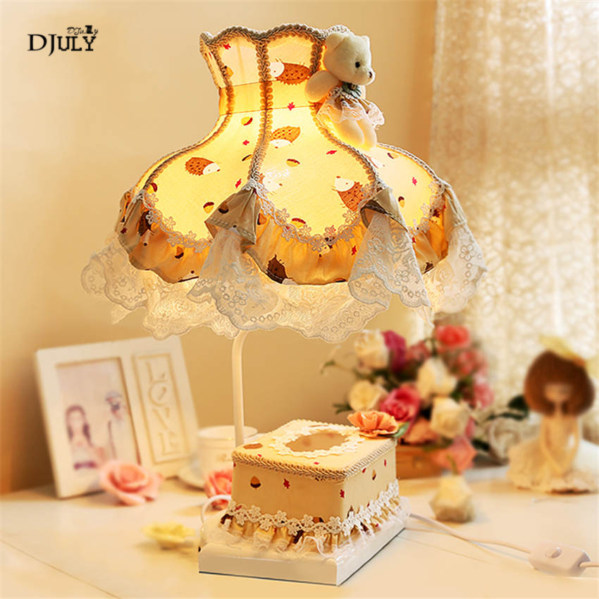 Princess style lace fabric tissue box table lamp home deco girl bedroom bedside lamp lovely study living room led table light|LED Table Lamps| |  - title=