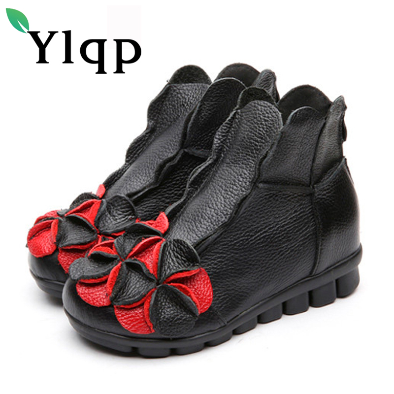 Ylqp 2017 Winter Vintage Genuine Leather Ankle Boots Female Floral Flat Casual Warm Shoes Soft Bottom Comfortable Mother Boots front lace up casual ankle boots autumn vintage brown new booties flat genuine leather suede shoes round toe fall female fashion