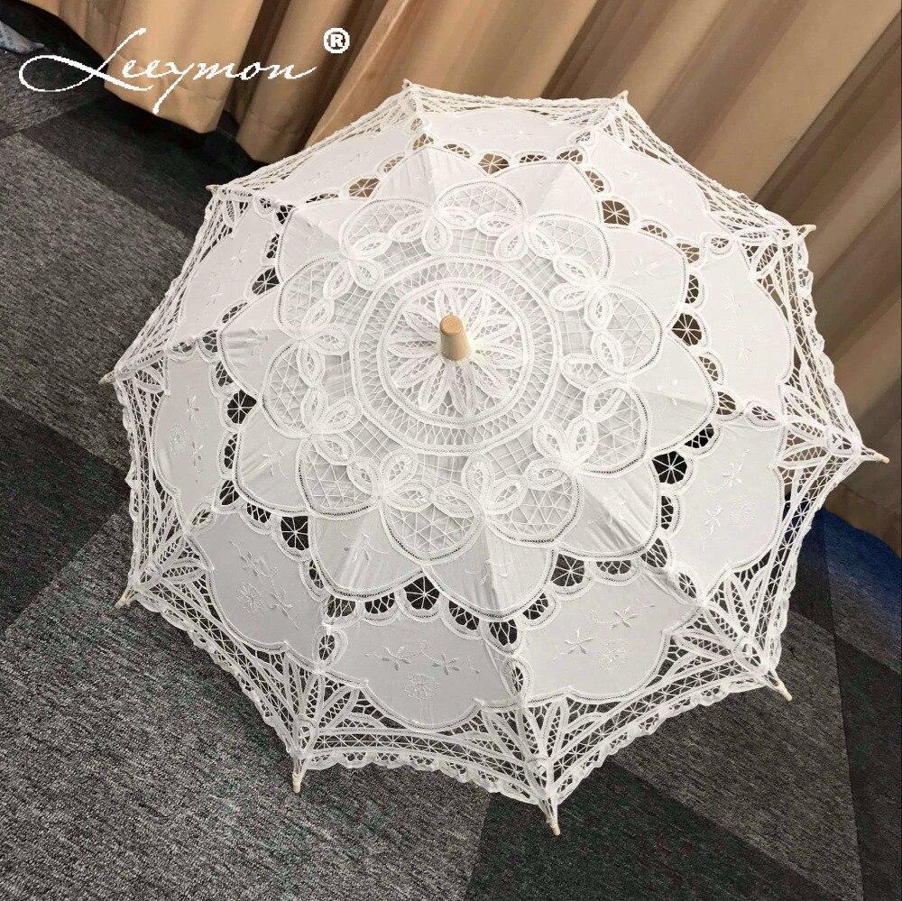 Vintage encaje paraguas bordado de algodón Battenburg encaje boda - Accesorios de boda