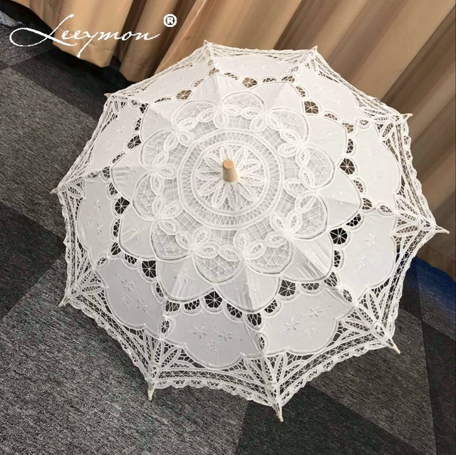 Vintage Lace Umbrella Cotton Embroidery Battenburg Wedding White Ivory Parasol Decorations Free