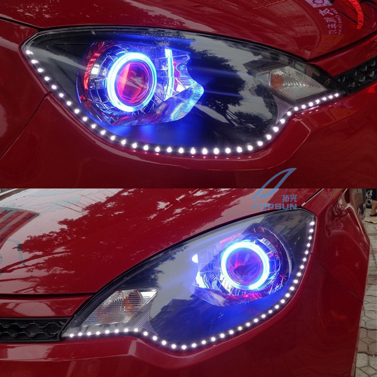 ФОТО Car Light Parts H4 Projector Lens 3 Inches Q5 Koito Bi-xenon HID with CCFL Angel Eyes and Shroud, Car Styling for headlight