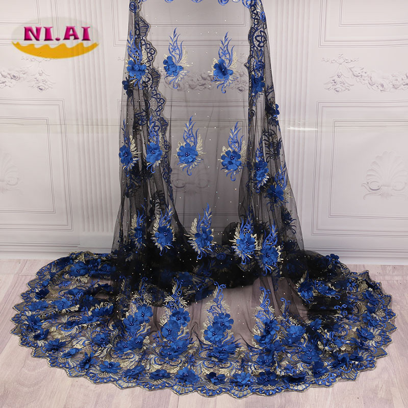 2018 Latest French Nigerian Laces Fabrics High Quality Tulle African Laces Fabrics Wedding African French Tulle