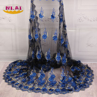 2018 Latest French Nigerian Laces Fabrics High Quality Tulle African Laces Fabrics Wedding African French Tulle Black XY A24