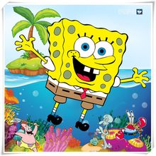 Spongebob diamant peinture point de croix mur autocollant 5d diamant broderie carré cristal mosaïque photos autocollants enfants cadeau(China)