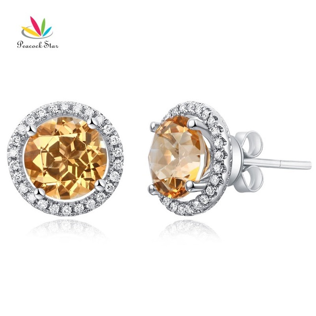 Pea Star 14k White Gold Stud Natural 2 5 Ct Yellow Topaz Earrings Halo 0 285 Diamonds
