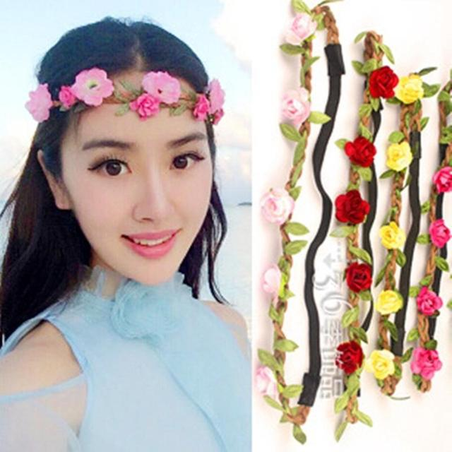Boho Style Hair Accessories Girls Headbands Elastic Flowers Crown Beach Wedding Bands Flores Headband For