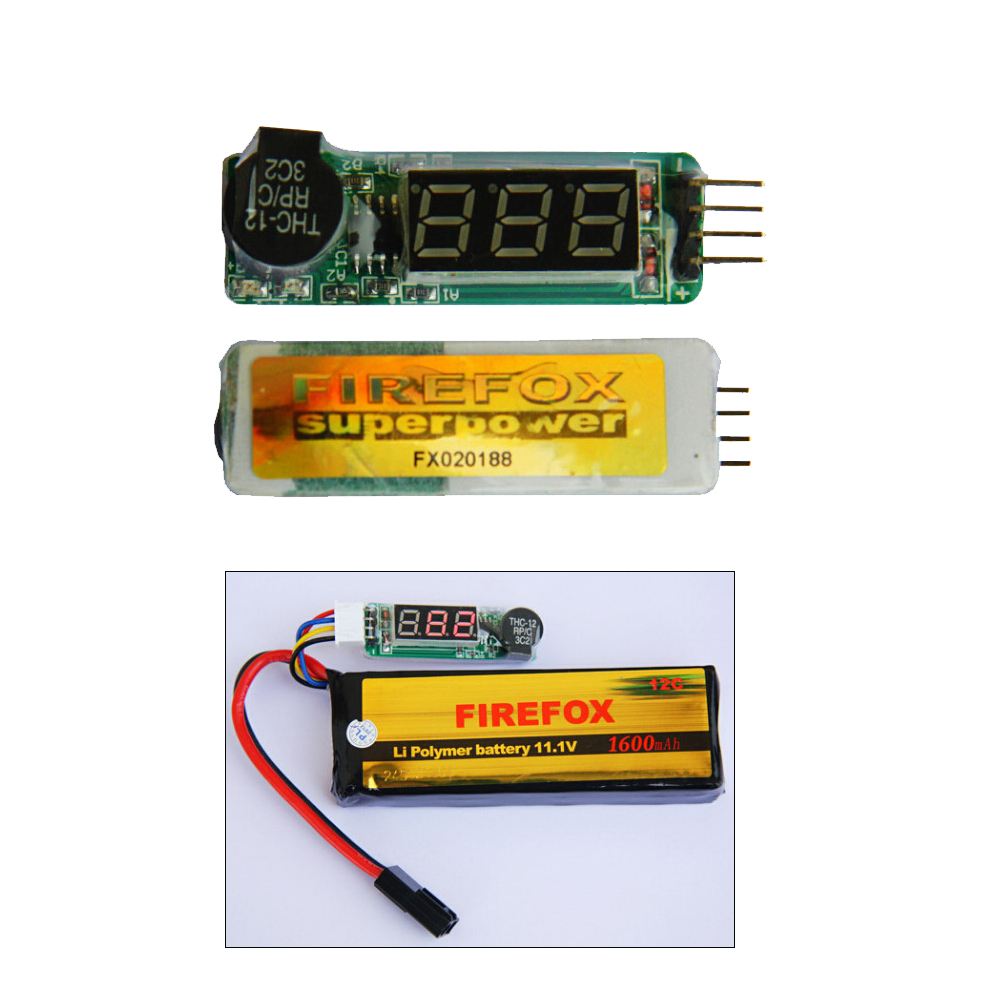 1pcs 100% Original Firefox LED Low Voltage Buzzer Alarm Lipo Voltage Indicator Checker Tester 7.4V 11.1V rc model 2s 3s 4s detect lipo battery low voltage alarm buzzer
