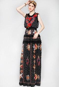 Vestido largo Vintage apliques bordados Floral elegante 1