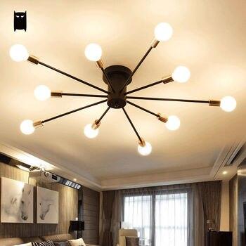 ブラックホワイト鉄枝天井照明器具現代ヴィンテージロフト吊りランプplafon光沢luminaria寝室スタディルーム