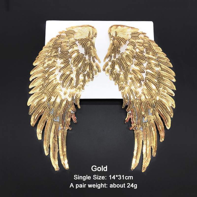 Misaya (1 Pairs) Sequin Gold/Silver Patch Paillette Lace Gold Wings T-shirt  Clothes Accessories Diy Cloth Fabric Adhesive
