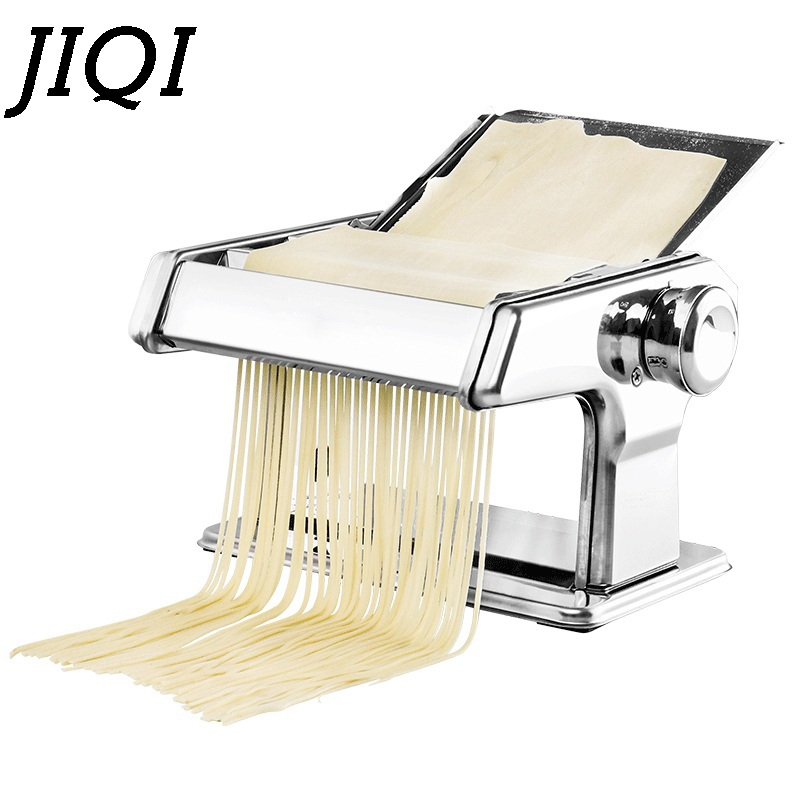 JIQI Stainless Steel Pasta Manual Noodle Maker Handmade Spaghetti Noodles Press Machine Roller Hand Operated Dough Cutter Hanger