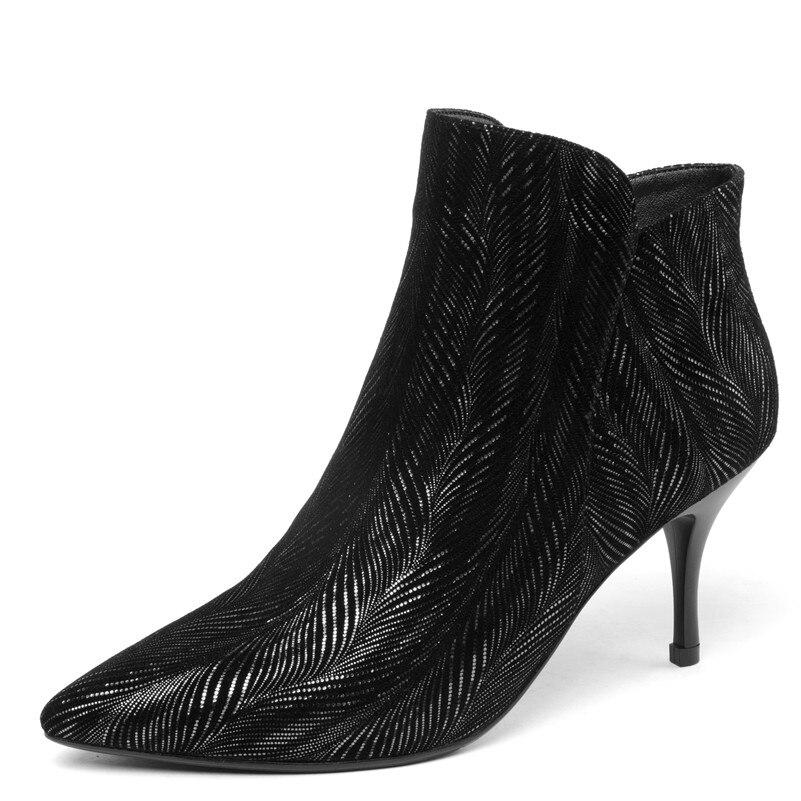 Talons Conasco Chaussures Pointu Automne rouge Cuir Cheville Hauts Arrivée Véritable Bottes Chaud En Parti Noir Marque Femmes Femme Nouvelle Hiver Bout PxqrawOPX