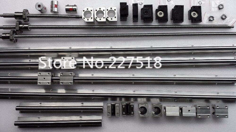 6 juegos de carril lineal SBR16 L300/1500/1500mm + SFU1605-350/1550/1550mm tornillo de la bola + 3 BK12/BF12 + 3 DSG16H tuerca + 3 acoplador de cnc