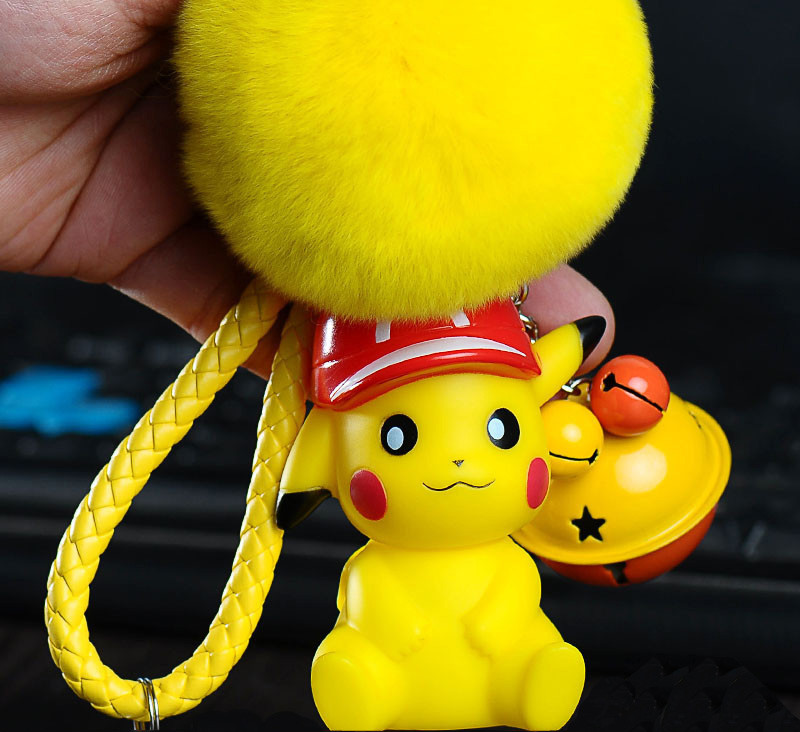Cartoon Anime Pikachu Pokemon Keychain Monsters Fur Ball Fluffy Pompom Rex Rabbit Fur Ctue Dolls Keychain Key Ring Bag Charms