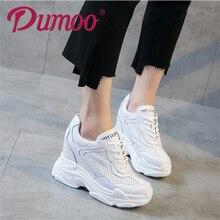 2018 Verão Super 10 cm Sapatos de Salto Alto Senhora Plataforma Casuais Sapatos Brancos Mulheres Sapatilha Lazer 5 cm Altura Crescente sapatos de cunha