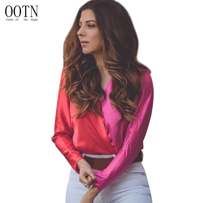 OOTN Ruffle Pink Satin Jumpsuits Women Long Sleeve Bodysuits Female Overall Romper Ladies V Neck Sexy Puff Sleeve Patchwork Tops