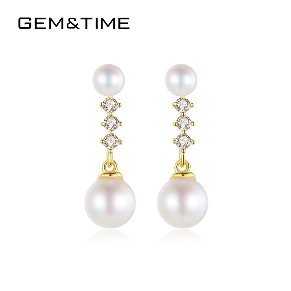 Gem&Time 5mm Real Freashwater Pearls Drop Earrings Solid 14k Gold 585 Dangle Earrings For Women Wedding Jewelry Gift E14055(China)