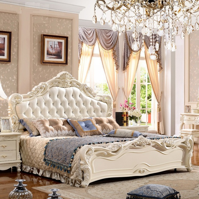 European Royal Style Queen King Size Beds 1.8 Meter Double Bed Solid Wood  Bed Furniture