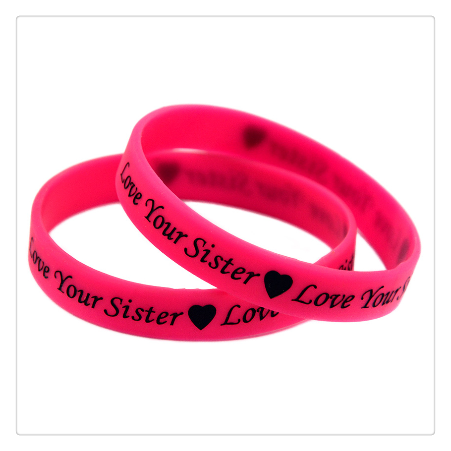 OneBandaHouse 1PC Love Your Sister Silicone Wristband Pink Fashion Bracelet