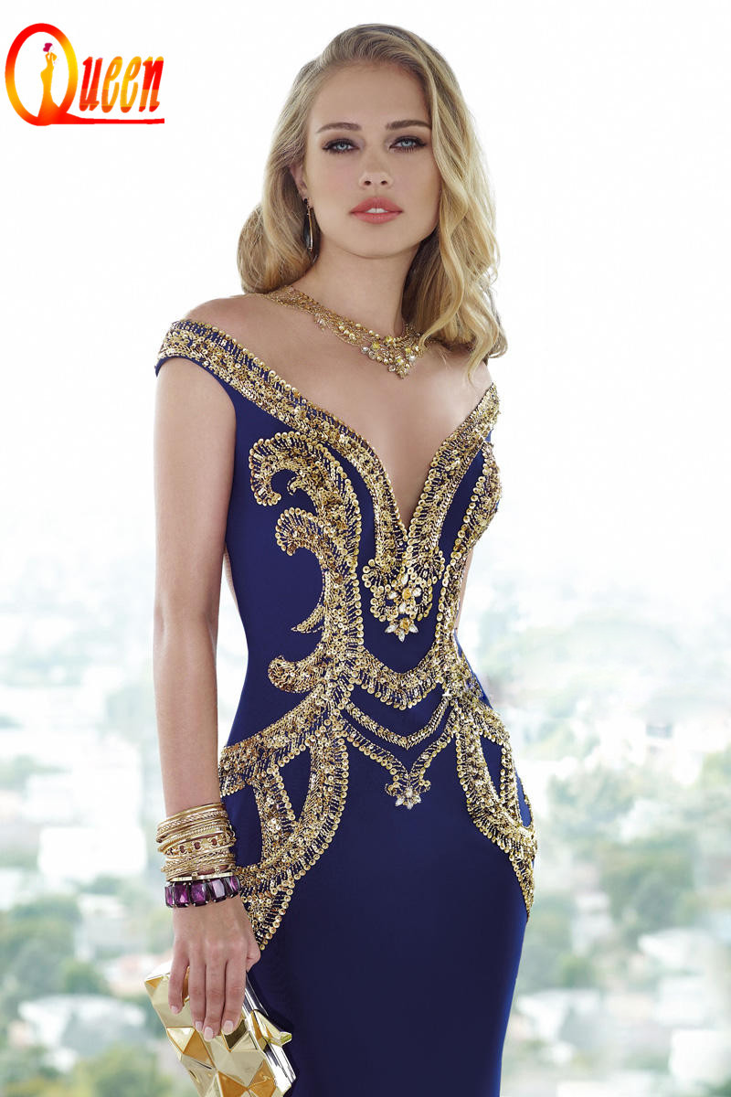 luxury midi royal blue big ass beading tulle see through spandex