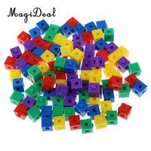 MagiDeal 100 Pz/pacco di Plastica Per Bambini Per Bambini Impilabile Cube Kit di Costruzione di trasporto Pop Collegamento Cubi per Divertimento Del Partito di Intelligenza Giocattolo 1cm