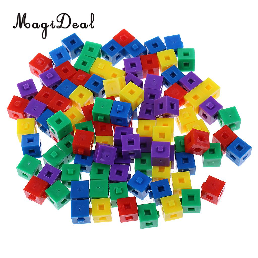 MagiDeal 100Pcs/Pack Plastic Kids Children Stacking Cube Building Kit Pop Linking Cubes For Party Fun Intelligence Toy 1cm