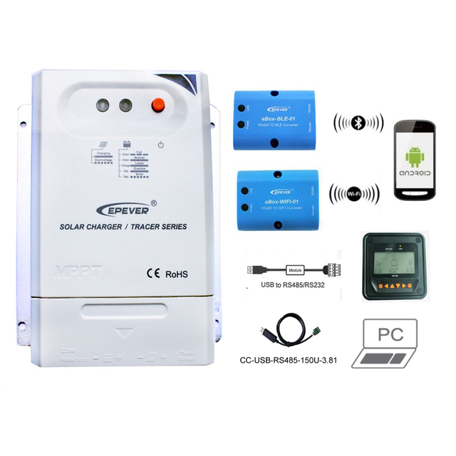 Tracer 2210CN 20A MPPT Solar Charge Controller 12V 24V LCD EPEVER Regulator MT50 WIFI Bluetooth PC Communication Mobile APP