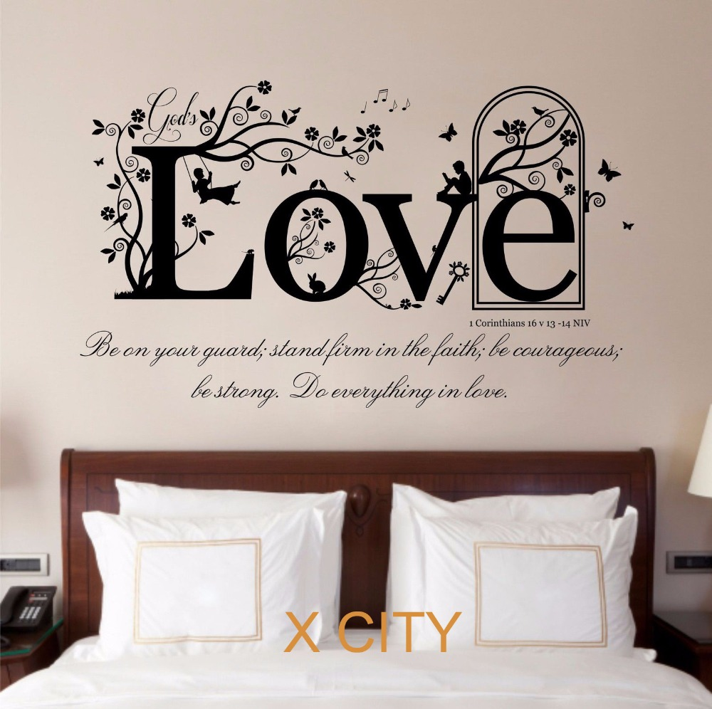LOVE The Shield Of Faith 1 Corinthians 16 V 13 14 Bible Quote Vinyl Wall Decal Art Decor Sticker Room Stencil Mural Large In Stickers From Home
