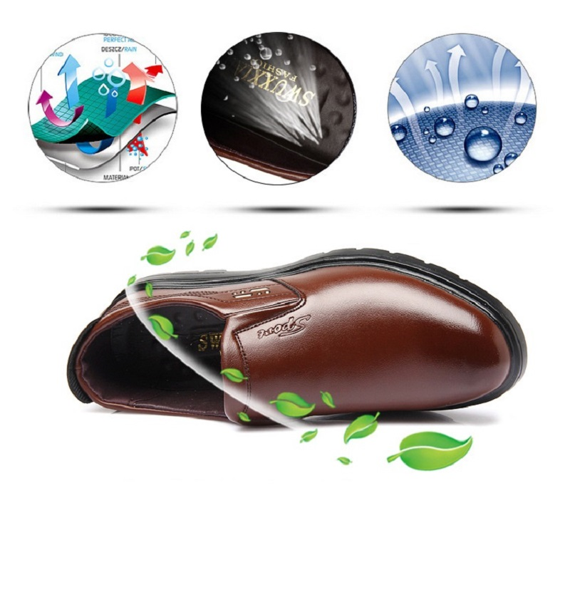 SpringAutum mens dress Business shoes casamento PU Leather Rubber Sole Breathable Waterproof Slip-On Hard-Wearing YC216 (2)