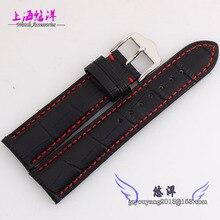 22 mm plata maciza reloj de Metal hebilla negro genuino bandas reloj de cuero correa con hilo rojo