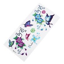 Цветочная Апликация в виде бабочки 1 шт. поддельные женщины мужчины DIY хна боди-арт тату дизайн DIY ветка дерева яркие Временные татуировки стикер