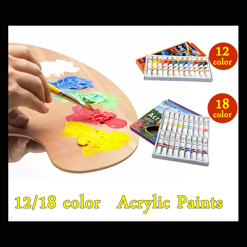 цена на 18 Colors 12ml Acrylic Paint set color Nail glass Art Painting paint for fabric Drawing Tools Colored Art Supplies