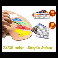18 Colors 12ml Acrylic Paint set color Nail glass Art Painting paint for fabric Drawing Tools Colored Art Supplies